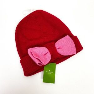 Kate Spade Bow Beanie Red /Hat